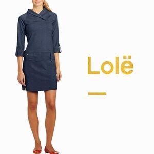 Lolë size Large blue gray long sleeve Evolt Tunic Dress
